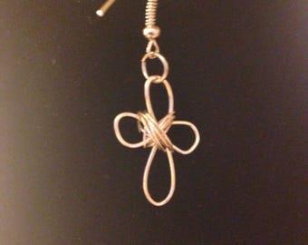 Wire Cross Earrings