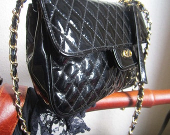 Vintage 80s lacquer bag shoulder bag bag quilted bag