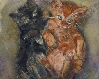 Valentine's day gift-Two kittens-watercolor print by Milena Valchanova  decor cat PRINT art print of cat watercolor painting - Kitten print