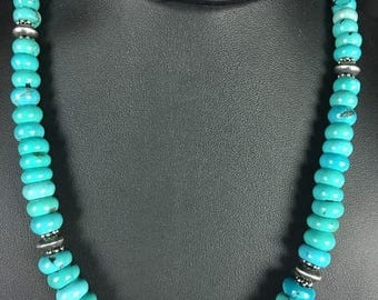 Native American Blue Turquoise Graduating Bead Sterling Silver Necklace