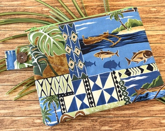 Quilted Zipper Bag in Blue and Green Hawaiian Print Fabric with Fish and Foliage, Small Lined Zipper Pouch for Toiletries or Purse or Travel