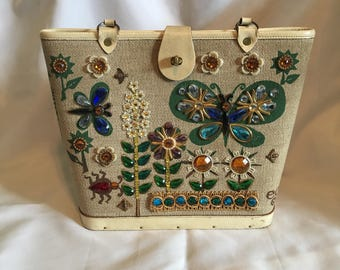 Rare Vintage Enid Collins jeweled butterfly garden summertime handbag