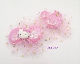 Minnie Mouse Hair Bow,FISH EXTENDER,Disney Cruise,Hello Kitty Hair Bow,Tulle,Princess