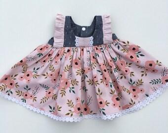 Floral tunic, Clara tunic, ruffle tunic, lace tunic, Easter tunic, pink tunic