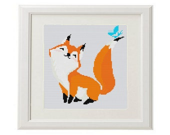 Fox Cross Stitch Pattern fox counted cross stitch pattern Cool Funny cross stitch pattern modern woodland Animal crossstitch embroidery fox