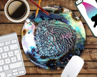 Rainbow Abalone Mousepad - Mat - Round or Rectangle - Shell Design - Crystal Print - Blue - Green - Mouse pad Co worker Gift