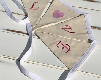 Pink Wedding Love Banner, Love Material Banner, Embroidered Love Bunting, Engagement Banner, Love Flags, Love Pennant, Heart Garland,