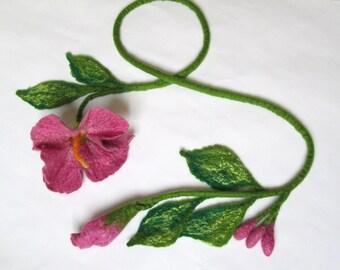 Felt Lariat , Flower Necklace ,Felted Flower Scarf , Flower Tie ,Wearable Art Accessory,Art to wear,Felt belt,Felted wool flower