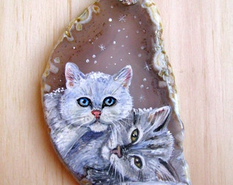 Painting on a cut of agate, a river,    slice of agate,     natural stone,     miniatu,     painting,  landscape, cat, kitten