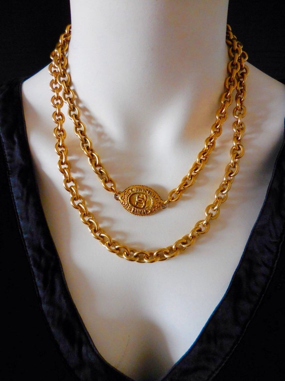 Vintage gold plated thick & heavy metal chain collier / necklace, designer connector necklace