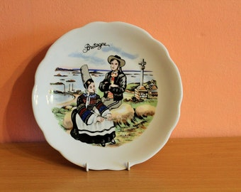 RARE Antique French Val De Juine Porcelaine Bretagne Plate, Vintage Porcelain Plate Couple  in Traditional Costumes made in France