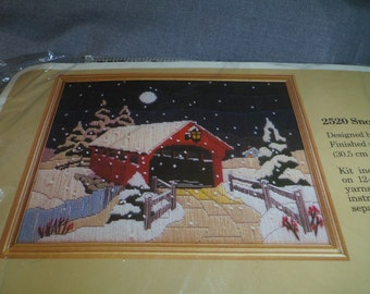 """Needlepoint Kit, Snow Covered Bridge by Creative Circle #2520 Fin. Size 12"""" x 16"""" Opened but Intact"""