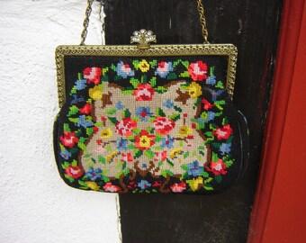 Small tapestry evening bag + rhinestones
