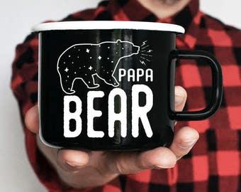 Papa Bear Enamel Mug Camping Mug Travel Mug Unique Gift Gift for Husband Gift for Him Camping Gift Handpainted Mug Adventure Happy Camper