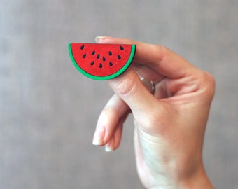 Handpainted brooch Wooden brooch watermelon wooden jewelry cute brooch laser cut brooch wooden pin handmade brooch hand painted gift for her