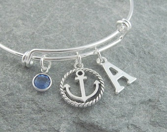 Anchor bracelet, silver anchor charm, initial bracelet, swarovski birthstone, personalized jewelry, nautical jewelry, adjustable bangle