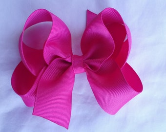 """Pink 5"""" Big Hair bows- 5 inch Boutique Hairbows -Large Hair Bows - Girls Hair Bows - Toddler Hairbows - Solid hairbows"""