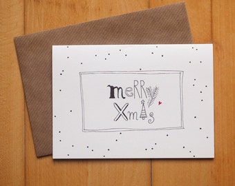 "Christmas card ""Christmas font"" / / signature: German or English / / Christmas greeting card with envelope"