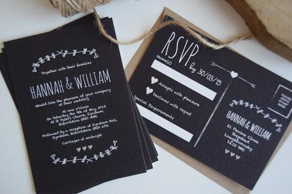 Rustic Chalkboard Wedding Invitation Set Sample
