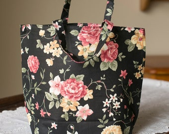 Fabric Gift Bags, Small Totes for Sewing, Knitting or Craft Project, Loot Bags: Handmade, Floral, Reusable for Women/Ladies/Girls