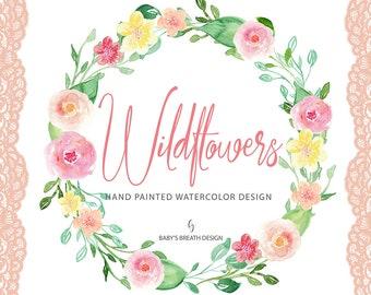 Watercolor Wildflowers Wreath Flower Clip Art Hand Drawn Flowers
