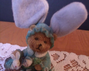 Vintage Hard Plastic Bear Figurine in Bunny Outfit, (# 982/61)