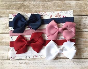 4 Bow Headbands/Bow Headband Set/Baby Headband Set/Baby Gift/Baby Shower Gift/Bows/Newborn Headbands/Baby Girl Headbands/Bow Headband/Baby