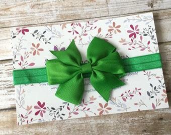 Green Bow Headband, Green Headband, St. Patrick's Day Headband, Baby Headband, Baby Girl Headband, Infant Headband, Newborn Headband, Baby