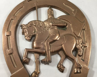 Vintage Metal Horseshoe Knight on a Horse Good Luck Wall Hanging