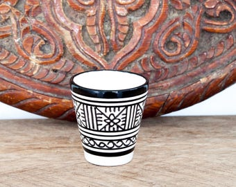 Set of 2 Moroccan Espresso cups - Black and white - Pattern 3