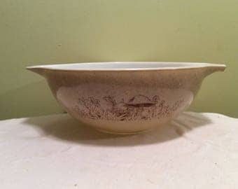 Vintage Pyrex Tan Speckled Mushroom Garden Floral Mixing Sandalwood nesting Bowl Forest Print