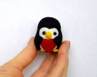 Needle Felted Penguin Valentine Heart valentines day gift for her valentine doll heart keychain penguin gift Needle Felted Penguin