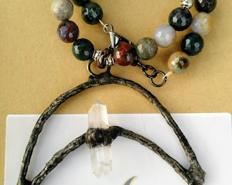 Genuine Indian Agate Choker with Soldered Pendant