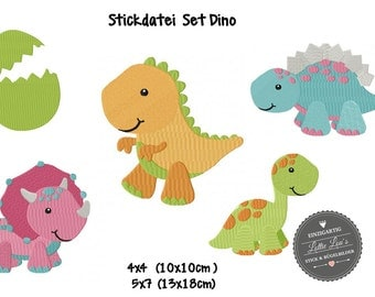 Embroidery design embroidery file set Dino dinosaur Stegosarus T-Rex