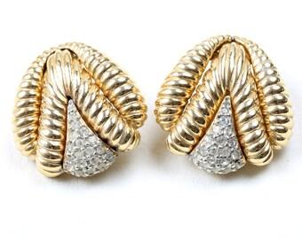 Ciner Gold Tone and Diamanté 1960s Vintage Earrings