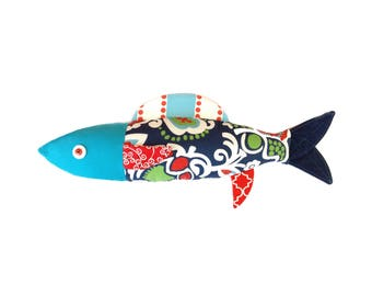 Sardine. Cushion. Fish. Psychedelic. Design. Dalida. 1970 made in Quebec. Catherine Bouchard
