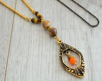 Gold teardrop necklace, geometric necklace, beaded necklace, tiger eye beads, jasper beads, Boho jewelry, Beaded Necklace, fashion jewelry
