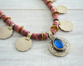 Afghan Kuchi Coin Necklace, Vintage OOAK Ceramic beads Coin Charm Necklace, Afghanistan Kuchi Leather Jewelry, Tribal Ethnic Coin Jewelry