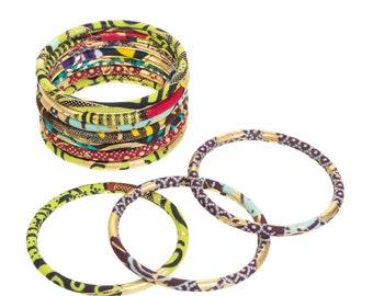 "Bracelets ""St. Louis"", African fabric gold"