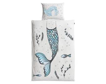 MERMAID Toddler/Single Bedding | Nursery Decor | Gift | Bedlinen | Duvet Cover | Pillow Case | 100% Cotton Print | Kids Bedset | Kids Room |