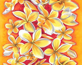 If You Like Pina Coladas PLUMERIA Fabric Panel