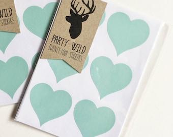 Heart Stickers Pk24 - Mint Green