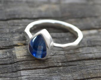 Kyanite Ring,  925 Sterling Silver Ring Blue Kyanite Pear Cocktail Ring Personalized Ring, Gemstone Ring, Artisan Jewelry Gift Ring