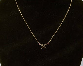 """14K Yellow Gold Nautical Themed Necklace w/2 Crossed Oars with Rubies, 17"""" Long"""