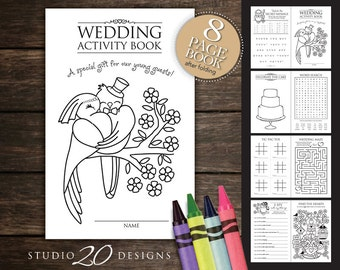 Instant Download Kids Wedding Activity Book Printable Childrens Coloring And