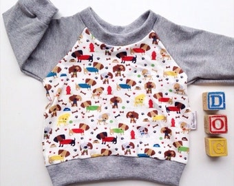 Long sleeved cotton shirt, long sleeved shirt, kids clothes, girls clothing, puppy shirt, gender neutral clothing, boys clothing