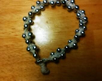silver beaded hemp bracelet