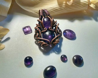 February Birthstone Amethyst  Copper Wire Wrap Pendant, Wire Wrapped, Heady Wire Wrap, Copper OOAK Jewelry