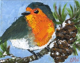 Redbreast Robin Original Acrylic Painting