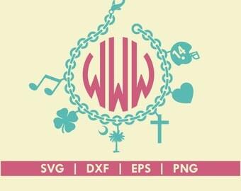 Charm Bracelet Jewelry SVG DXF Silhouette Cameo Cricut Cut File